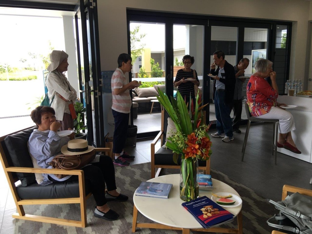 Morning tea in the Display Home Village